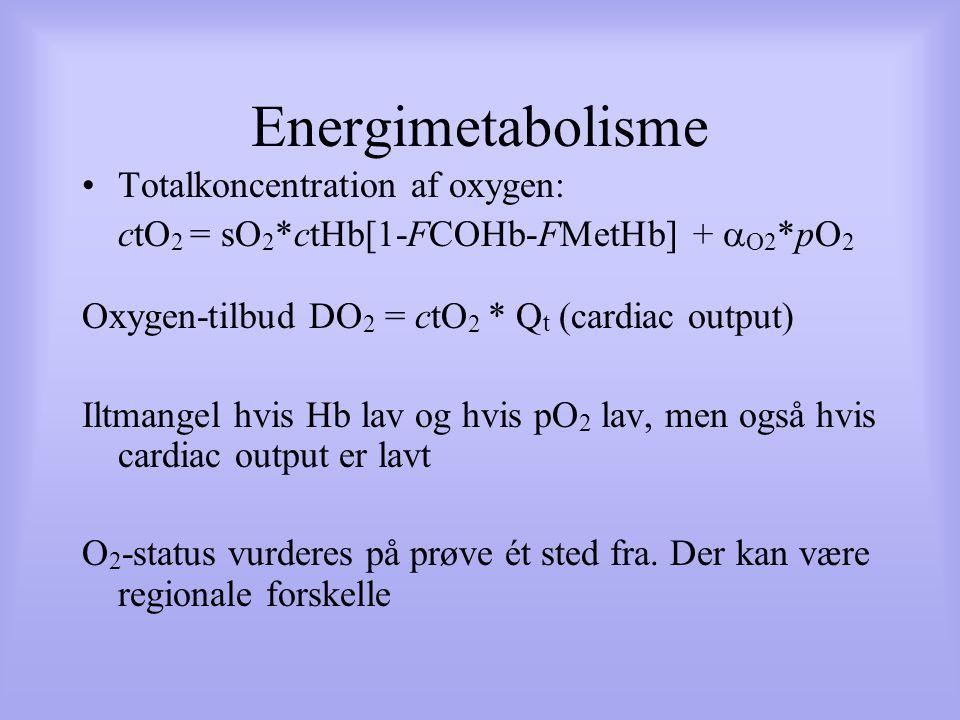 Energimetabolisme Totalkoncentration af oxygen: ctO 2 = sO 2 *ctHb[1-FCOHb-FMetHb] +  O2 *pO 2 Oxygen-tilbud DO 2 = ctO 2 * Q t (cardiac output) Iltmangel hvis Hb lav og hvis pO 2 lav, men også hvis cardiac output er lavt O 2 -status vurderes på prøve ét sted fra.