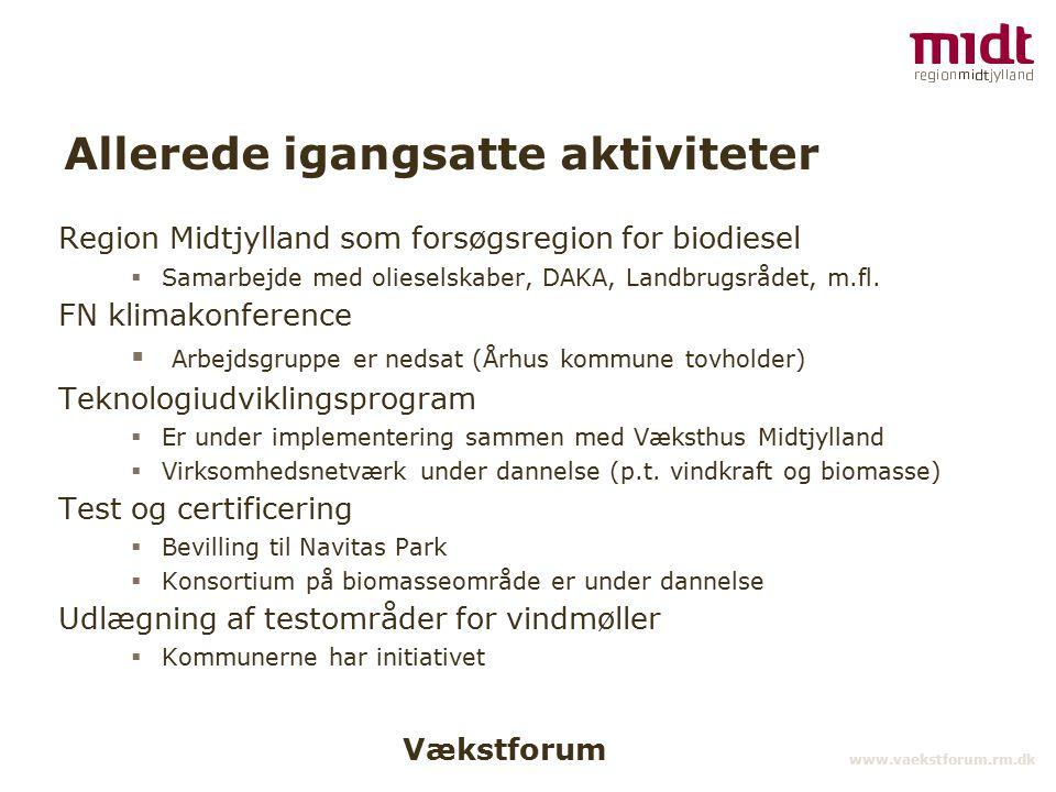 Vækstforum www.vaekstforum.rm.dk Allerede igangsatte aktiviteter Region Midtjylland som forsøgsregion for biodiesel  Samarbejde med olieselskaber, DAKA, Landbrugsrådet, m.fl.