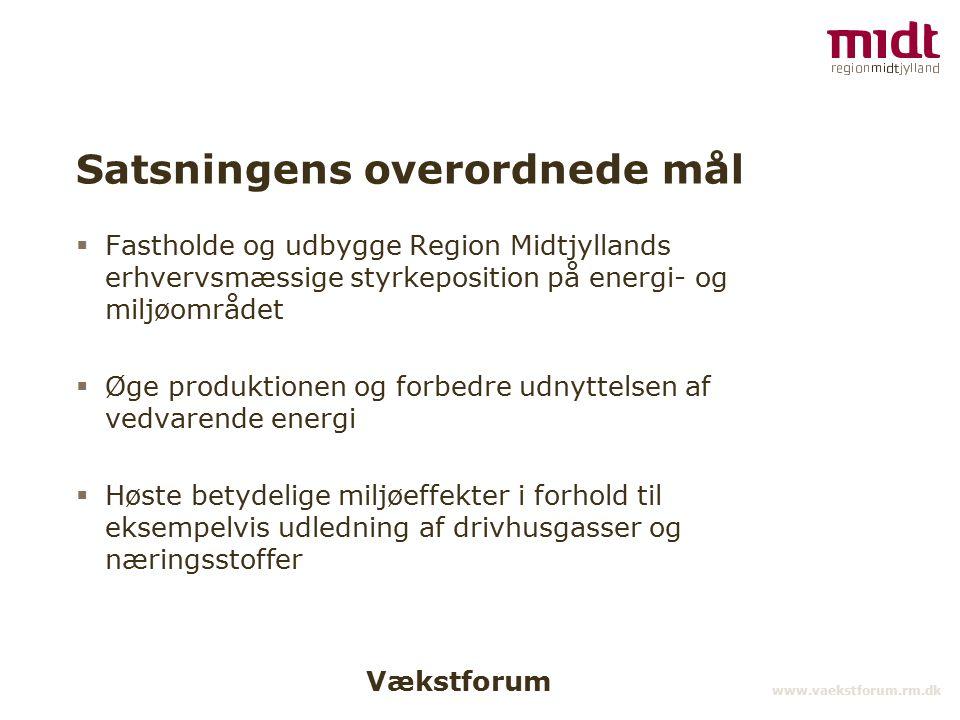 Vækstforum www.vaekstforum.rm.dk Satsningens overordnede mål  Fastholde og udbygge Region Midtjyllands erhvervsmæssige styrkeposition på energi- og miljøområdet  Øge produktionen og forbedre udnyttelsen af vedvarende energi  Høste betydelige miljøeffekter i forhold til eksempelvis udledning af drivhusgasser og næringsstoffer