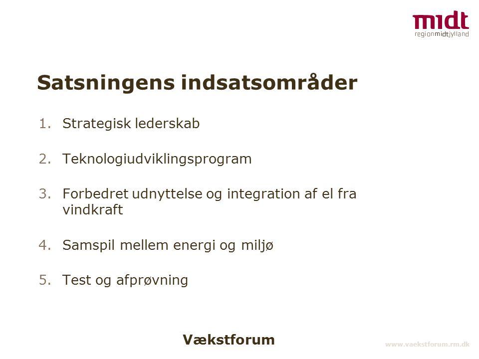 Vækstforum www.vaekstforum.rm.dk Satsningens indsatsområder 1.Strategisk lederskab 2.Teknologiudviklingsprogram 3.Forbedret udnyttelse og integration af el fra vindkraft 4.Samspil mellem energi og miljø 5.Test og afprøvning