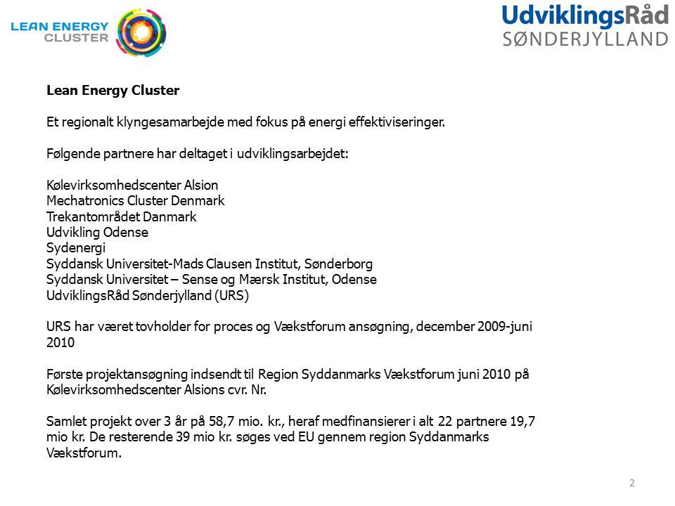 Lean Energy Cluster Et regionalt klyngesamarbejde med fokus på energi effektiviseringer.