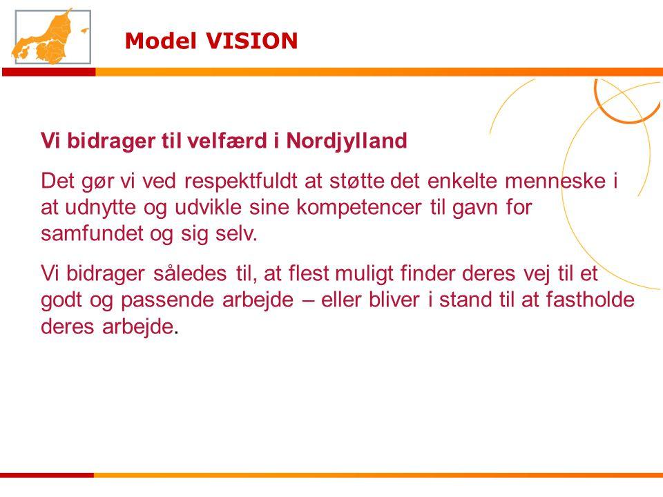 Model VISION Vi bidrager til velfærd i Nordjylland Det gør vi ved respektfuldt at støtte det enkelte menneske i at udnytte og udvikle sine kompetencer til gavn for samfundet og sig selv.