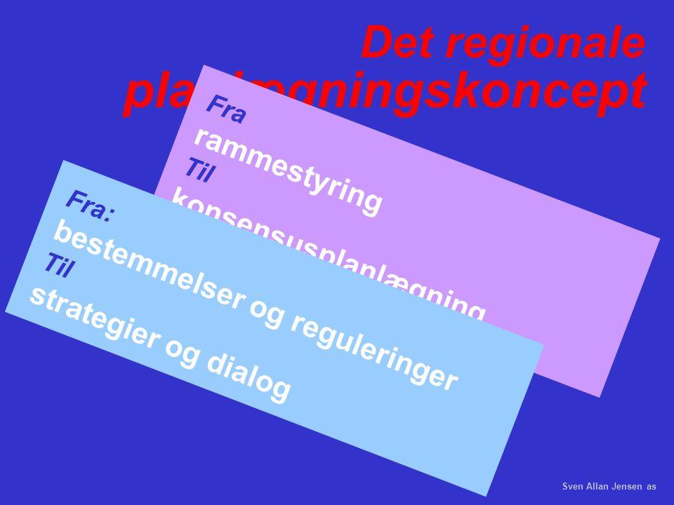 Det regionale planlægningskoncept Fra rammestyring Til konsensusplanlægning Fra: bestemmelser og reguleringer Til strategier og dialog