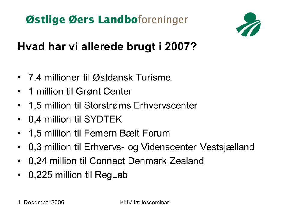 1. December 2006KNV-fællesseminar Hvad har vi allerede brugt i 2007.