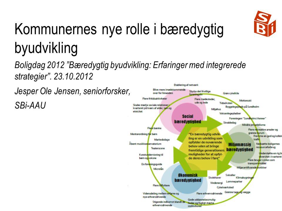 Kommunernes nye rolle i bæredygtig byudvikling Boligdag 2012 Bæredygtig byudvikling: Erfaringer med integrerede strategier .