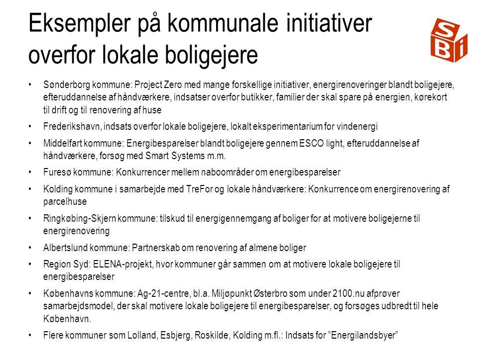 Eksempler på kommunale initiativer overfor lokale boligejere Sønderborg kommune: Project Zero med mange forskellige initiativer, energirenoveringer blandt boligejere, efteruddannelse af håndværkere, indsatser overfor butikker, familier der skal spare på energien, kørekort til drift og til renovering af huse Frederikshavn, indsats overfor lokale boligejere, lokalt eksperimentarium for vindenergi Middelfart kommune: Energibesparelser blandt boligejere gennem ESCO light, efteruddannelse af håndværkere, forsøg med Smart Systems m.m.