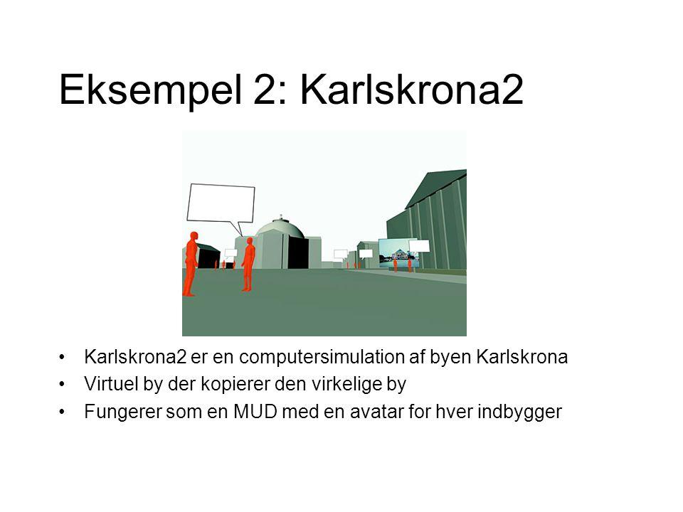 Eksempel 2: Karlskrona2 Karlskrona2 er en computersimulation af byen Karlskrona Virtuel by der kopierer den virkelige by Fungerer som en MUD med en avatar for hver indbygger