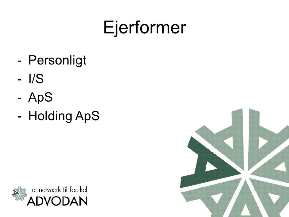 Ejerformer -Personligt -I/S -ApS -Holding ApS