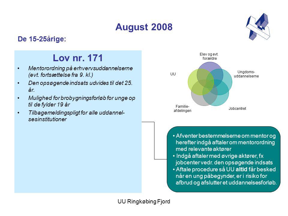 UU Ringkøbing Fjord August 2008 Lov nr. 171 Mentorordning på erhvervsuddannelserne (evt.