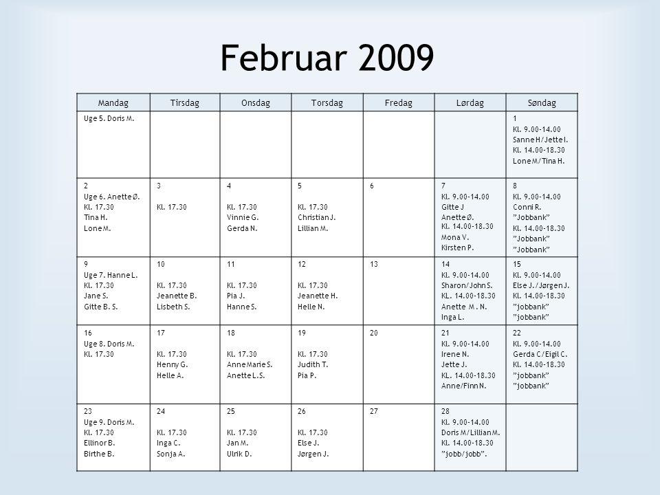 Marts 2009 MandagTirsdagOnsdagTorsdagFredagLørdagSøndag Uge 9.