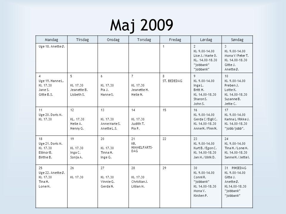 Maj 2009 MandagTirsdagOnsdagTorsdagFredagLørdagSøndag Uge 18.