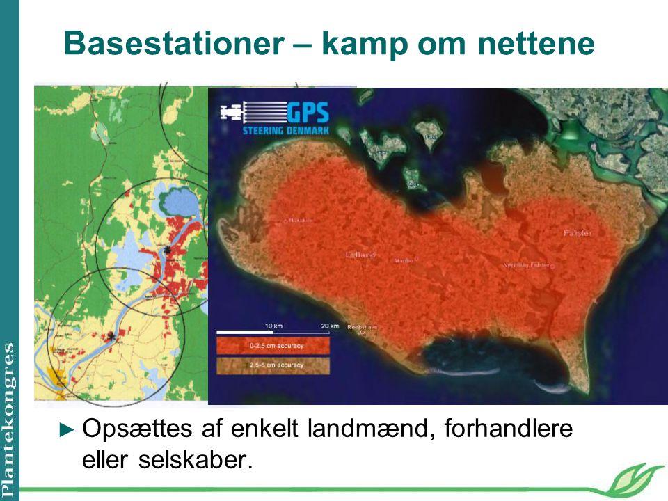 Basestationer – kamp om nettene Trimble net, North Sugar, Australien Trimble net, GPS steering DK, ► Opsættes af enkelt landmænd, forhandlere eller selskaber.