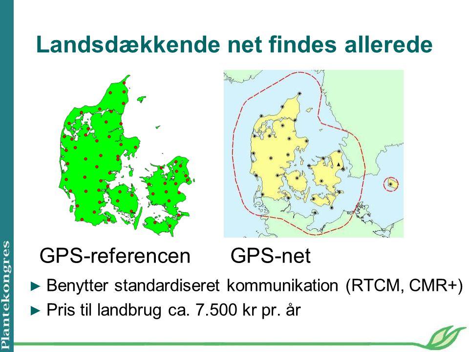 Landsdækkende net findes allerede GPS-referencen GPS-net ► Benytter standardiseret kommunikation (RTCM, CMR+) ► Pris til landbrug ca.