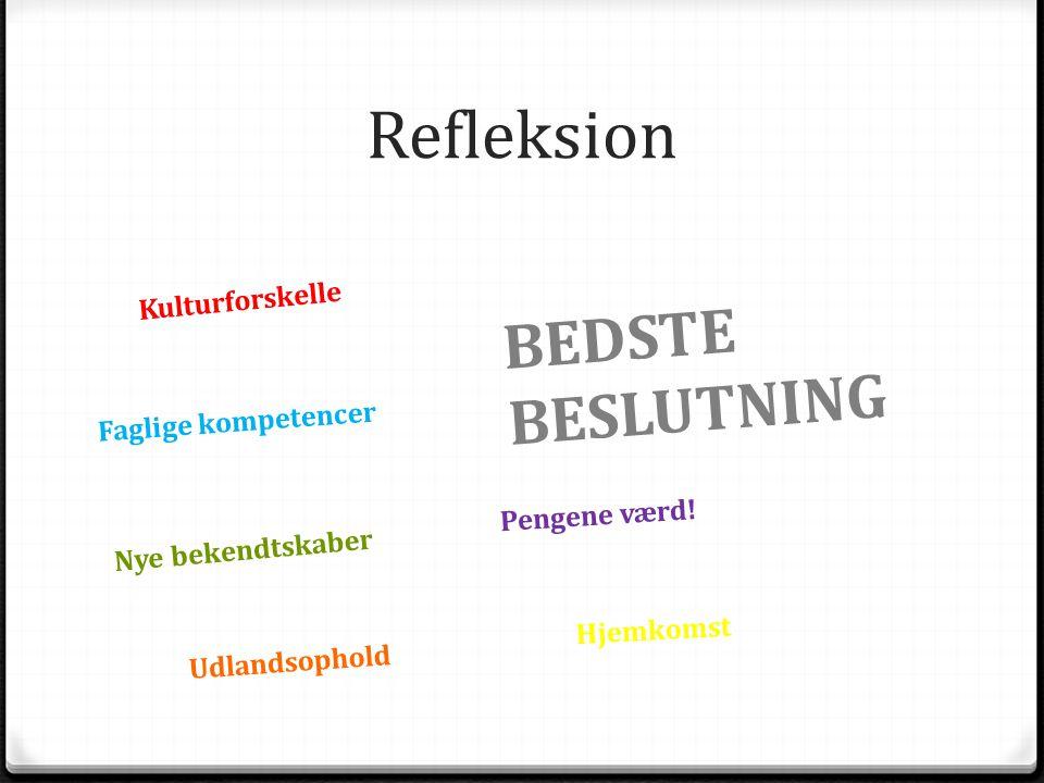 Refleksion Kulturforskelle Nye bekendtskaber Faglige kompetencer Udlandsophold Pengene værd.