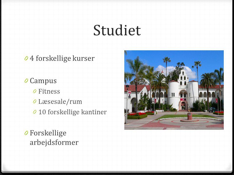 Studiet 0 4 forskellige kurser 0 Campus 0 Fitness 0 Læsesale/rum 0 10 forskellige kantiner 0 Forskellige arbejdsformer