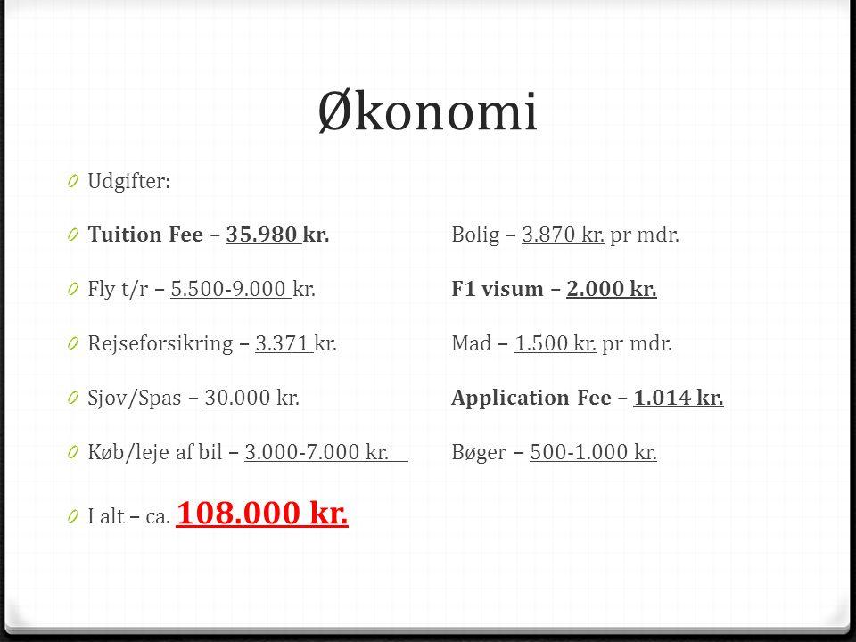 Økonomi 0 Udgifter: 0 Tuition Fee – 35.980 kr.Bolig – 3.870 kr.
