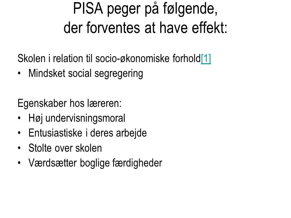 PISA peger på følgende, der forventes at have effekt: Skolen i relation til socio-økonomiske forhold[1][1] Mindsket social segregering Egenskaber hos læreren: Høj undervisningsmoral Entusiastiske i deres arbejde Stolte over skolen Værdsætter boglige færdigheder