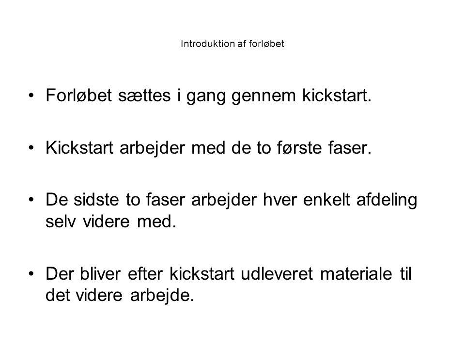 Forløbet sættes i gang gennem kickstart. Kickstart arbejder med de to første faser.
