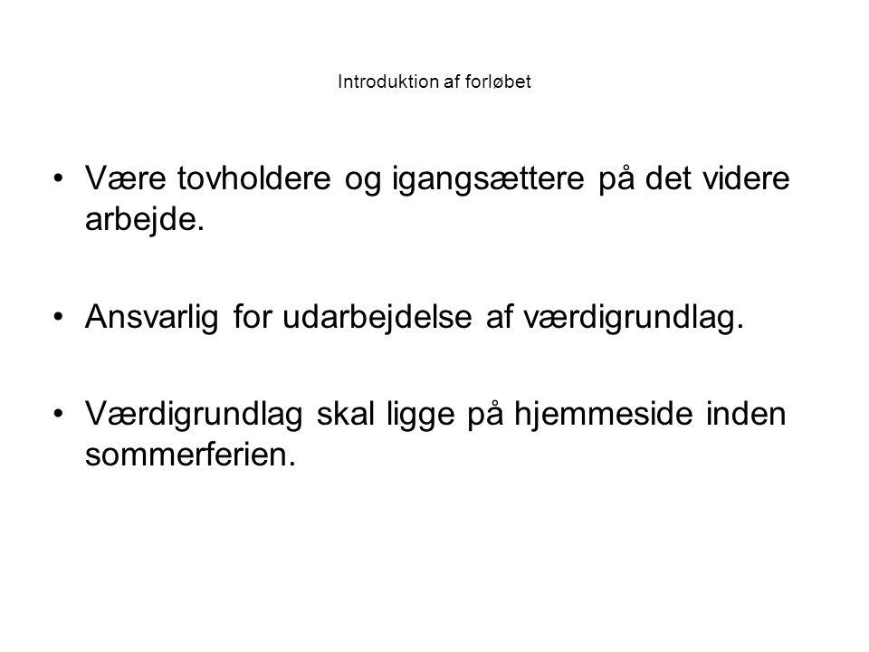 Introduktion af forløbet Være tovholdere og igangsættere på det videre arbejde.