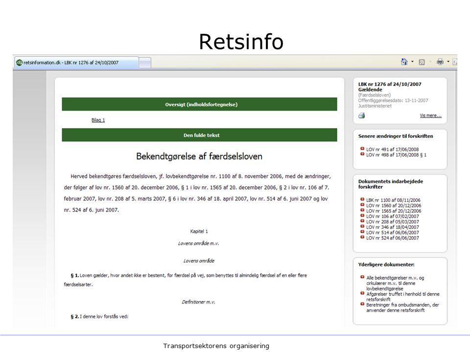 Transportsektorens organisering Retsinfo