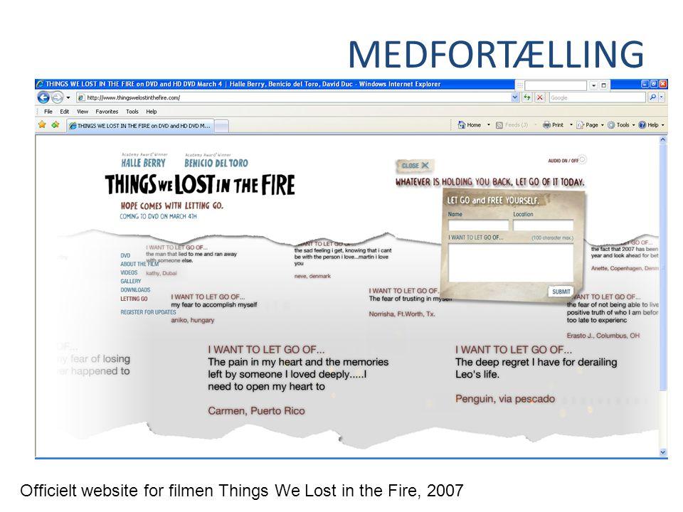 MEDFORTÆLLING Officielt website for filmen Things We Lost in the Fire, 2007