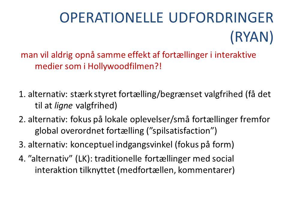 OPERATIONELLE UDFORDRINGER (RYAN) man vil aldrig opnå samme effekt af fortællinger i interaktive medier som i Hollywoodfilmen .