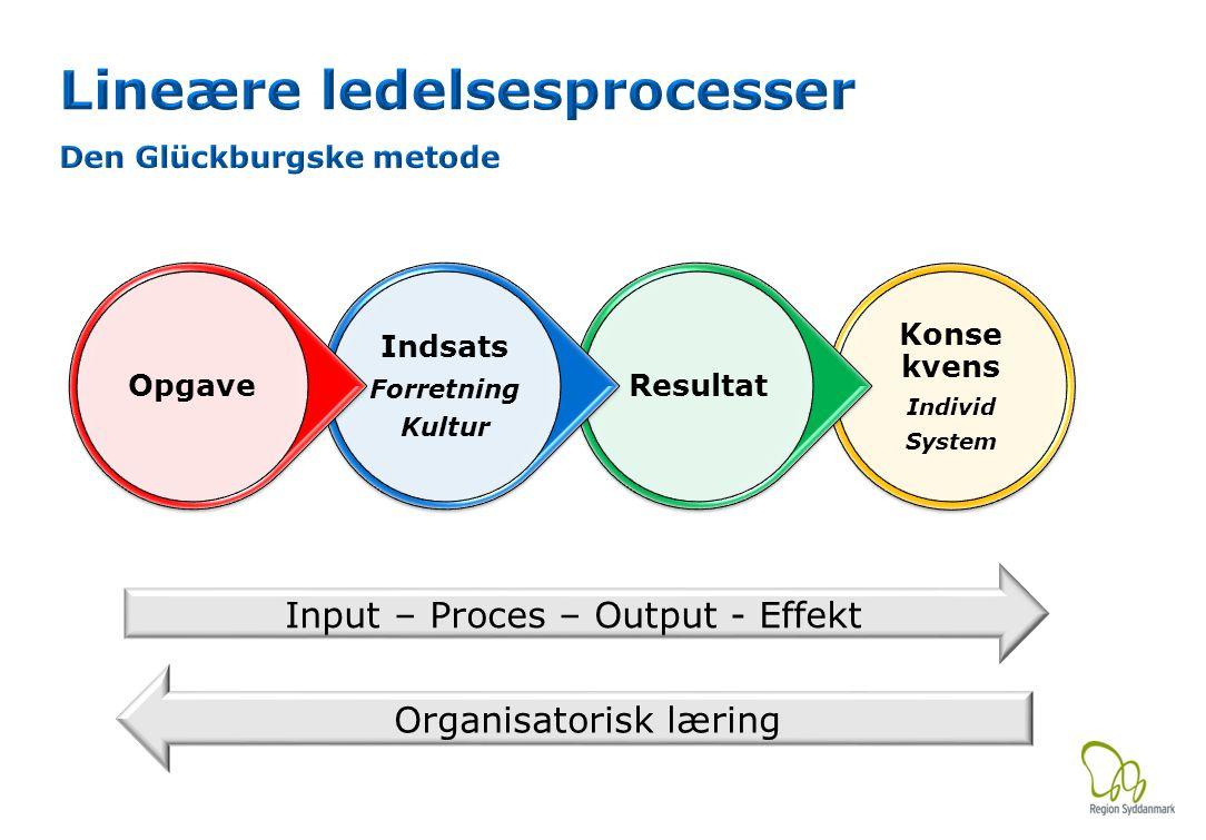 Input – Proces – Output - Effekt Organisatorisk læring Konse kvens Individ System Resultat Indsats Forretning Kultur Opgave