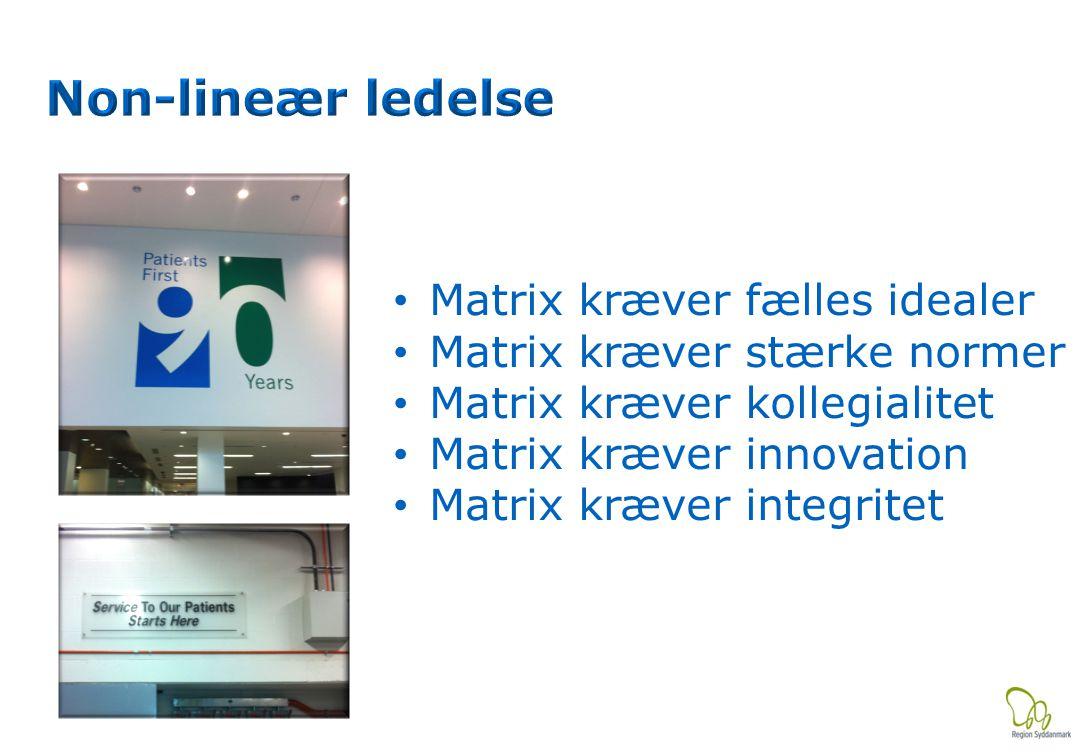 Matrix kræver fælles idealer Matrix kræver stærke normer Matrix kræver kollegialitet Matrix kræver innovation Matrix kræver integritet