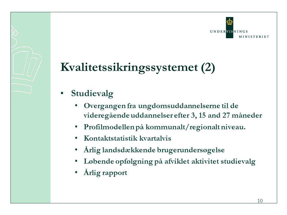 10 Kvalitetssikringssystemet (2) Studievalg Overgangen fra ungdomsuddannelserne til de videregående uddannelser efter 3, 15 and 27 måneder Profilmodellen på kommunalt/regionalt niveau.