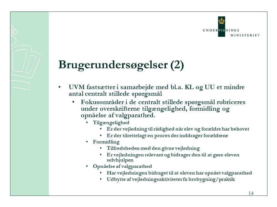 14 Brugerundersøgelser (2) UVM fastsætter i samarbejde med bl.a.