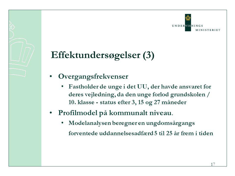 17 Effektundersøgelser (3) Overgangsfrekvenser Fastholder de unge i det UU, der havde ansvaret for deres vejledning, da den unge forlod grundskolen / 10.