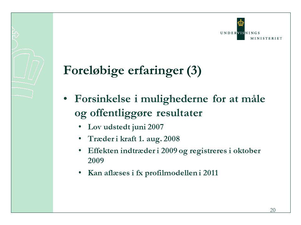 20 Foreløbige erfaringer (3) Forsinkelse i mulighederne for at måle og offentliggøre resultater Lov udstedt juni 2007 Træder i kraft 1.