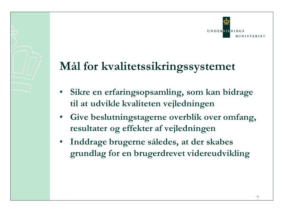 7 Mål for kvalitetssikringssystemet Sikre en erfaringsopsamling, som kan bidrage til at udvikle kvaliteten vejledningen Give beslutningstagerne overblik over omfang, resultater og effekter af vejledningen Inddrage brugerne således, at der skabes grundlag for en brugerdrevet videreudvikling