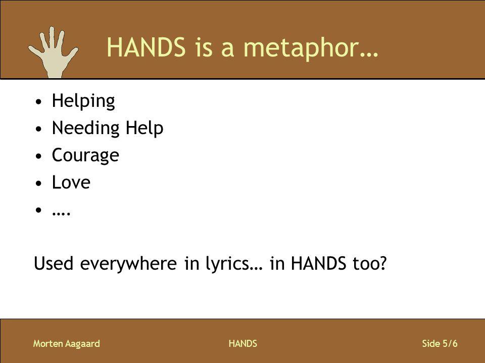 Morten AagaardHANDS Side 5/6 HANDS is a metaphor… Helping Needing Help Courage Love ….