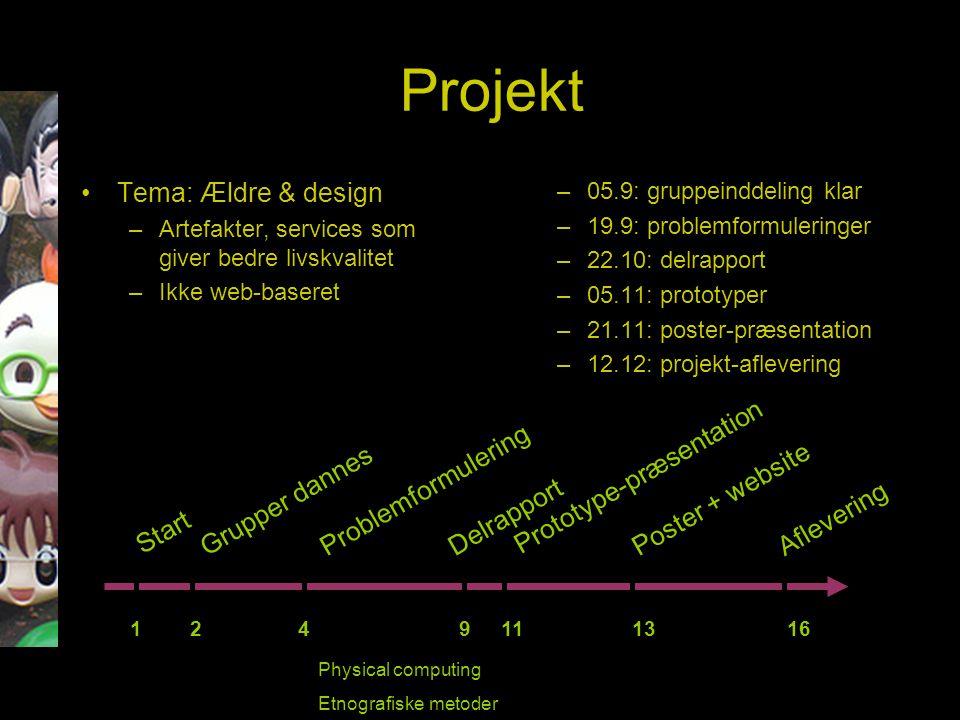 Projekt Tema: Ældre & design –Artefakter, services som giver bedre livskvalitet –Ikke web-baseret –05.9: gruppeinddeling klar –19.9: problemformuleringer –22.10: delrapport –05.11: prototyper –21.11: poster-præsentation –12.12: projekt-aflevering Start 1 2 4 9 11 13 16 Grupper dannesProblemformulering Delrapport Prototype-præsentation Aflevering Poster + website Physical computing Etnografiske metoder