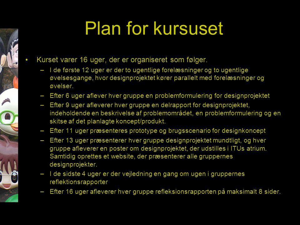 Plan for kursuset Kurset varer 16 uger, der er organiseret som følger.