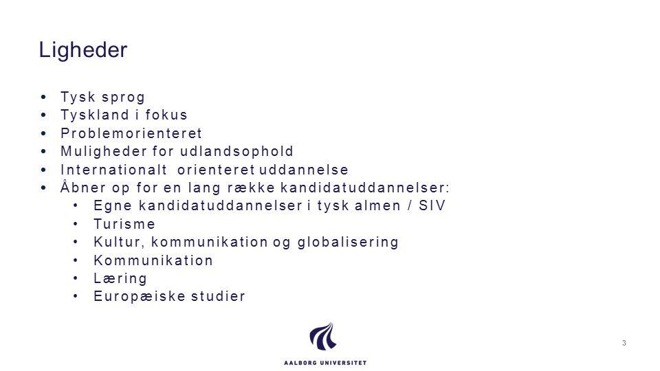 Tysk sprog Tyskland i fokus Problemorienteret Muligheder for udlandsophold Internationalt orienteret uddannelse Åbner op for en lang række kandidatuddannelser: Egne kandidatuddannelser i tysk almen / SIV Turisme Kultur, kommunikation og globalisering Kommunikation Læring Europæiske studier Ligheder 3