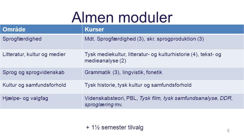 Almen moduler Kurser 8 + 1½ semester tilvalg OmrådeKurser SprogfærdighedMdt.