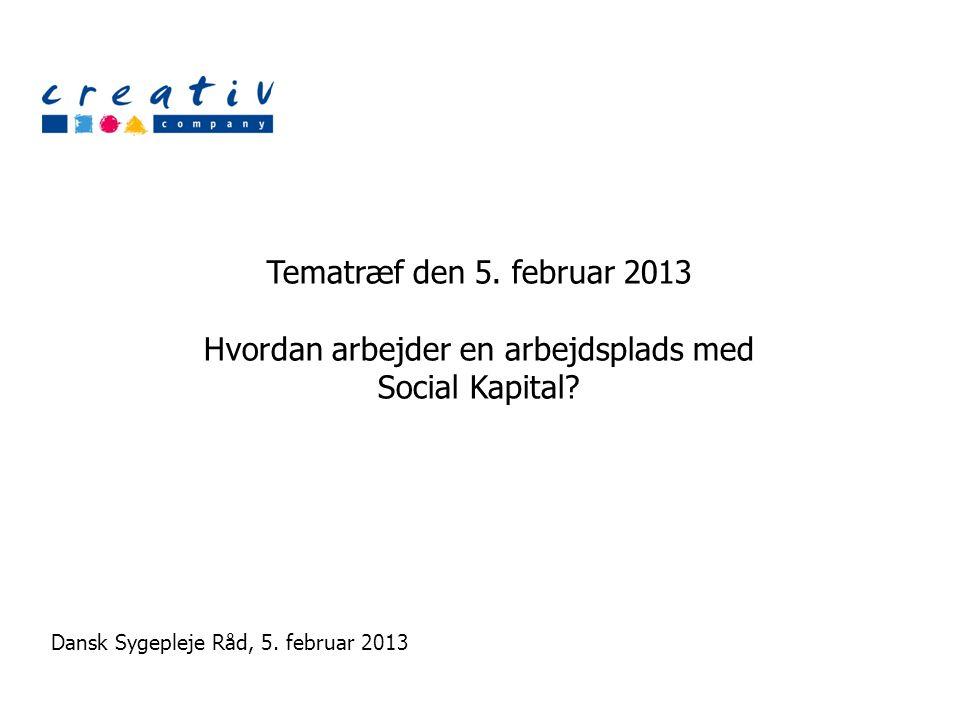Tematræf den 5. februar 2013 Hvordan arbejder en arbejdsplads med Social Kapital.