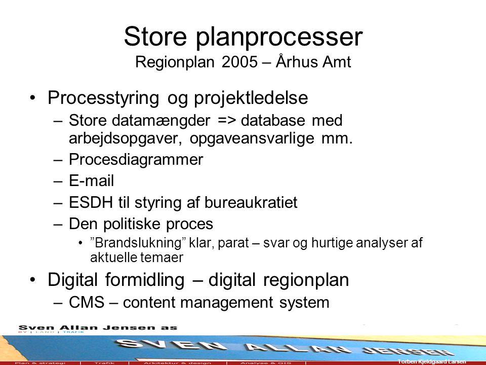 Torben Kjeldgaard Larsen Store planprocesser Regionplan 2005 – Århus Amt Processtyring og projektledelse –Store datamængder => database med arbejdsopgaver, opgaveansvarlige mm.