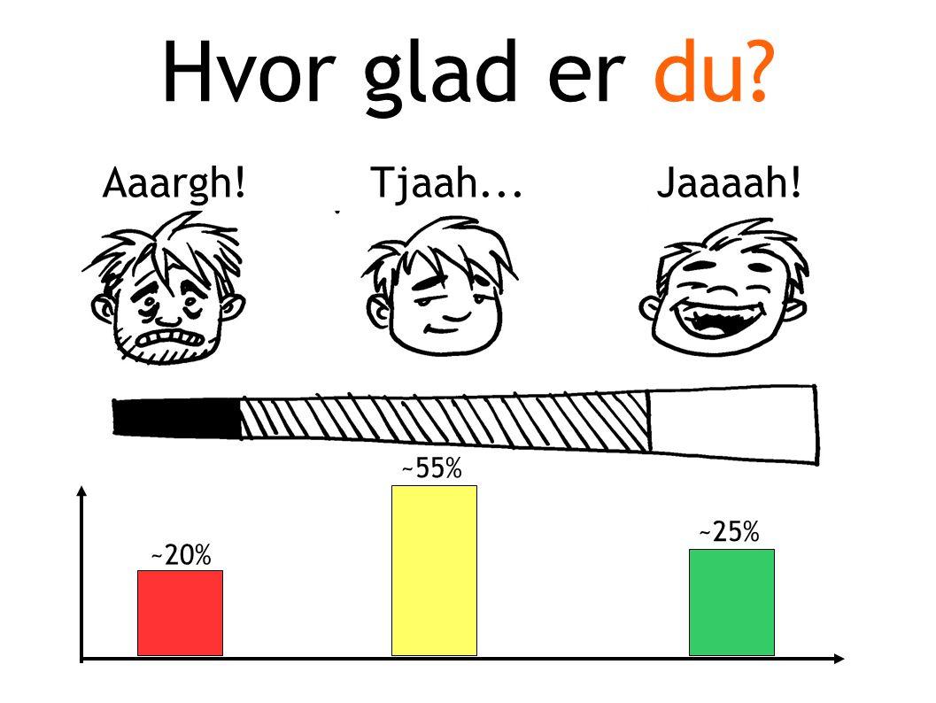 Hvor glad er du Aaargh!Tjaah...Jaaaah! ~20% ~55% ~25%