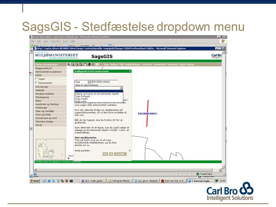 SagsGIS - Stedfæstelse dropdown menu