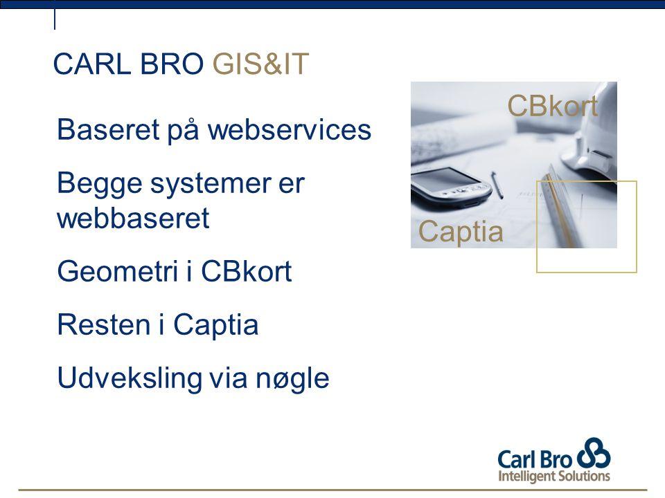 CARL BRO GIS&IT CBkort Baseret på webservices Begge systemer er webbaseret Geometri i CBkort Resten i Captia Udveksling via nøgle Captia