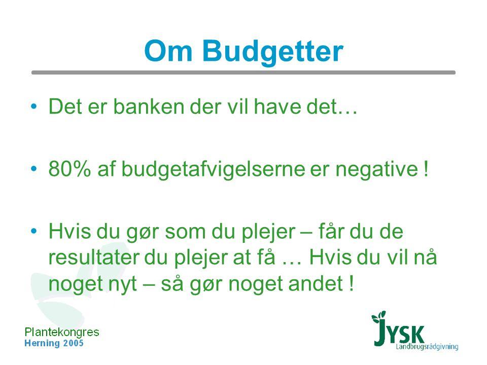 Om Budgetter Det er banken der vil have det… 80% af budgetafvigelserne er negative .