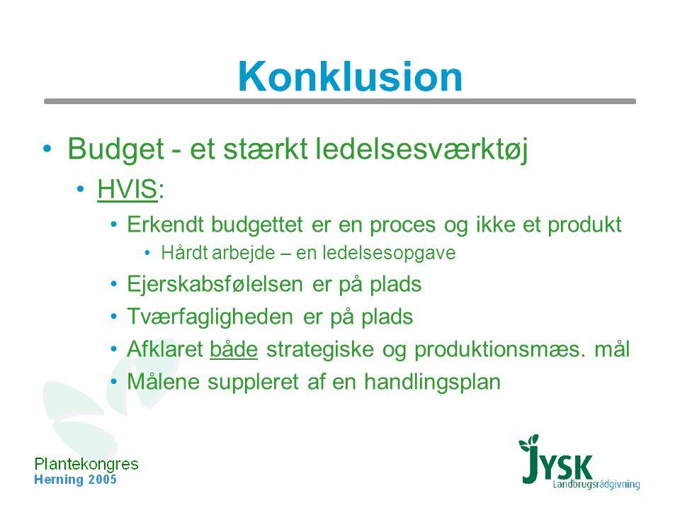 Konklusion Budget - et stærkt ledelsesværktøj HVIS: Erkendt budgettet er en proces og ikke et produkt Hårdt arbejde – en ledelsesopgave Ejerskabsfølelsen er på plads Tværfagligheden er på plads Afklaret både strategiske og produktionsmæs.