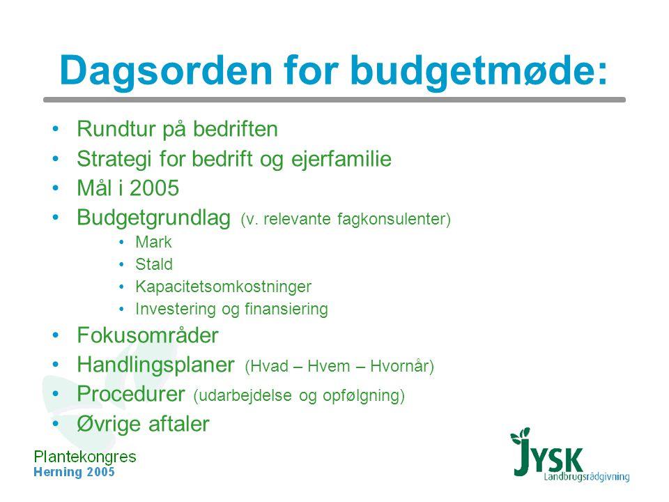 Dagsorden for budgetmøde: Rundtur på bedriften Strategi for bedrift og ejerfamilie Mål i 2005 Budgetgrundlag (v.