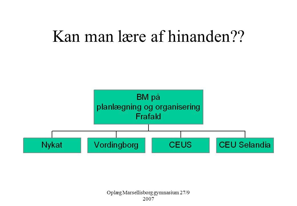 Oplæg Marsellisborg gymnasium 27/9 2007 Kan man lære af hinanden