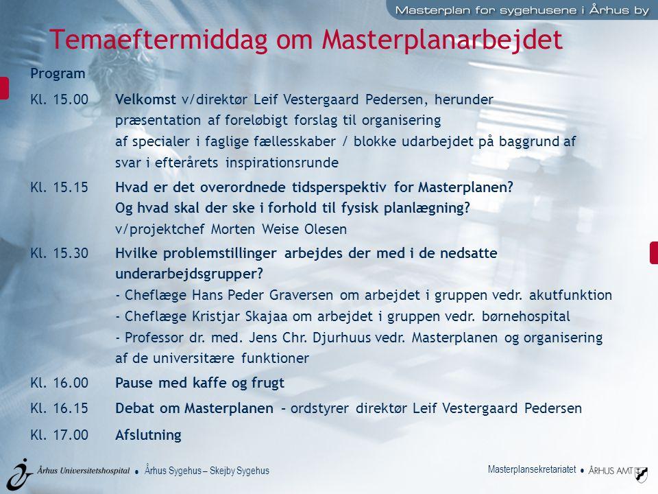 Århus Sygehus – Skejby Sygehus Masterplansekretariatet Temaeftermiddag om Masterplanarbejdet Program Kl.
