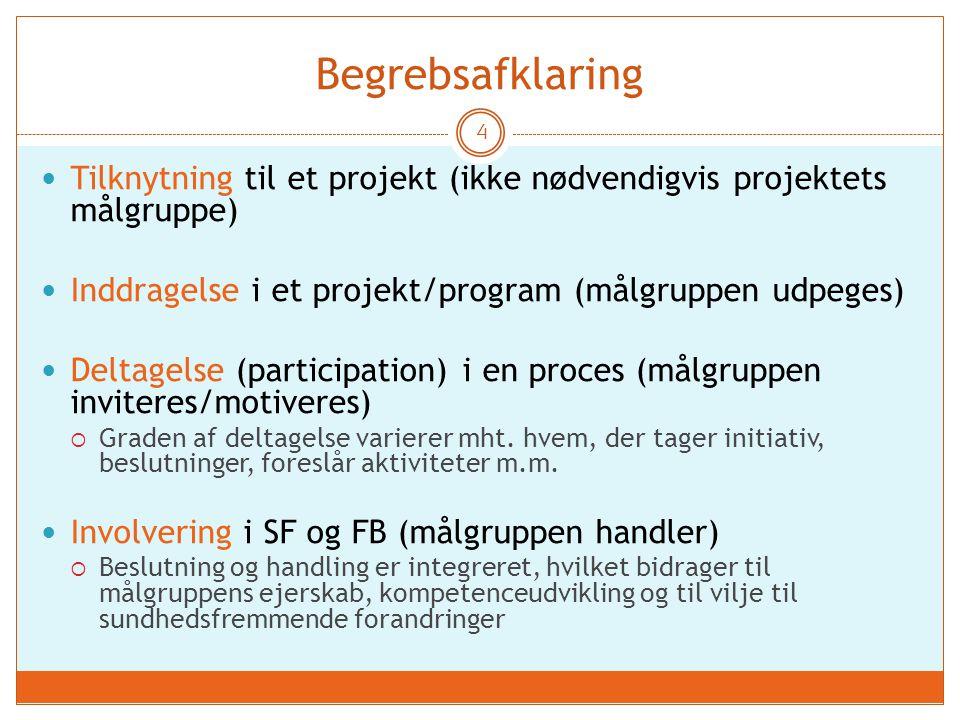 Begrebsafklaring 4 Tilknytning til et projekt (ikke nødvendigvis projektets målgruppe) Inddragelse i et projekt/program (målgruppen udpeges) Deltagelse (participation) i en proces (målgruppen inviteres/motiveres)  Graden af deltagelse varierer mht.