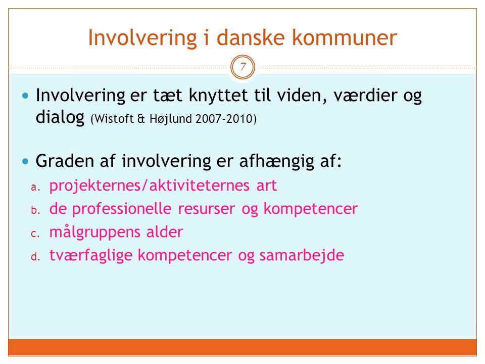 Involvering i danske kommuner 7 Involvering er tæt knyttet til viden, værdier og dialog (Wistoft & Højlund 2007-2010) Graden af involvering er afhængig af: a.